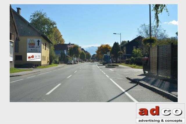 Kategorie: Werbeflächen Type: Hauswandfläche Land: Österreich Bundesland:  Salzburg Ort: Oberalm Adresse: Halleiner Landesstraße Höhe Lacknerbauernweg  ...